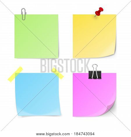 Set of green yellow blue violet sticky notes isolated on white background. Vector illustration.