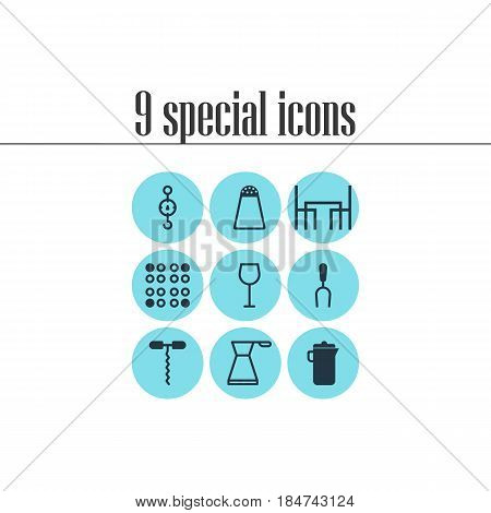 Vector Illustration Of 9 Kitchenware Icons. Editable Pack Of Wine, Cooker, Steelyard And Other Elements.