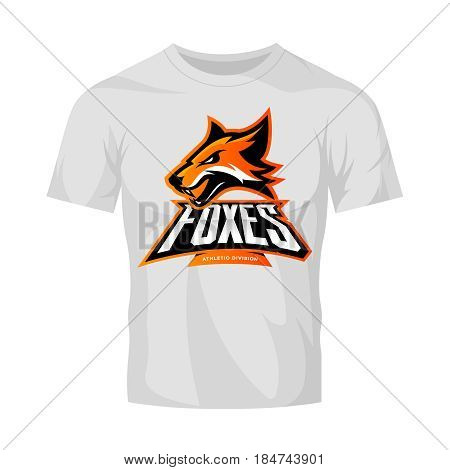 Furious fox sport club vector logo concept isolated on white t-shirt mockup. Modern professional team badge mascot design. Premium quality wild animal athletic division t-shirt tee print illustration.