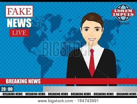 Anchorman on tv broadcast news. Fake Breaking News vector illustration. Media on television concept.