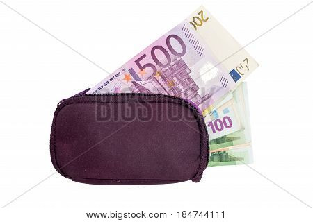 Woman Purse With Euro Money,  Isolated On White. Place For Text.