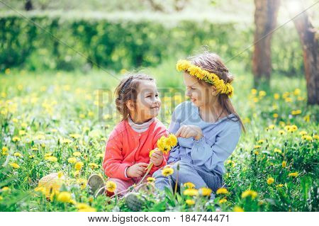 two beautiful little girls Caucasian and Asian appearance sitting on a green meadow and weave a wreath of dandelions