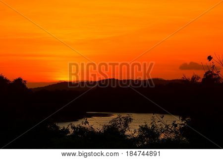 sunset beautiful and silhouette mountain tree colorful landscape in sky twilight time