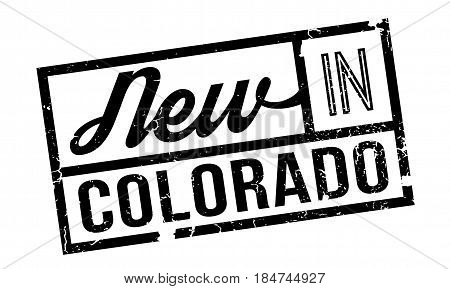 New In Colorado rubber stamp. Grunge design with dust scratches. Effects can be easily removed for a clean, crisp look. Color is easily changed.