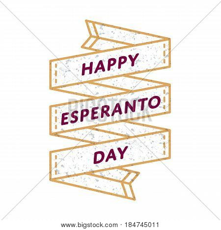 Happy Esperanto day emblem isolated vector illustration on white background. 26 july world holiday event label, greeting card decoration graphic element