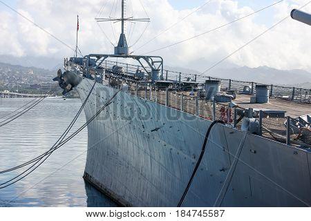 High deck of Battleship Missouri overlooking  Pearl Harbor, Hawaii
