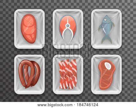 Meat fish sausage bacon tenderloin disposable food pack isolated 3d realistic shop package box shadow mockup transparent background design vector illustration
