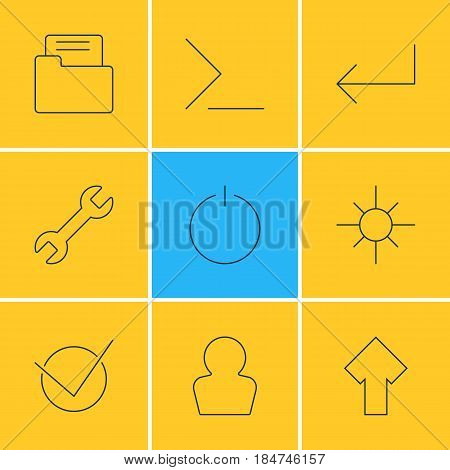 Vector Illustration Of 9 UI Icons. Editable Pack Of Avatar, Accsess, Switch Off And Other Elements.