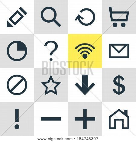 Vector Illustration Of 16 User Icons. Editable Pack Of Wheelbarrow, Money Making, Stopwatch And Other Elements.
