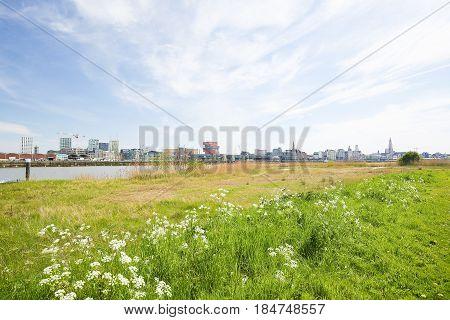 View on the center of Antwerp by the River Scheldt in Flanders Belgium