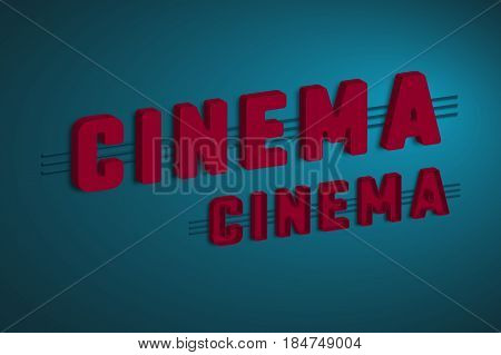 3d cinema sign with purple letters on dark blue background. Respective effect. Vector illustration.