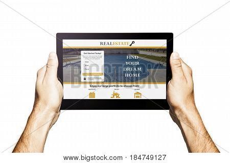Real estate app in a tablet. Hands holding tablet. White background.
