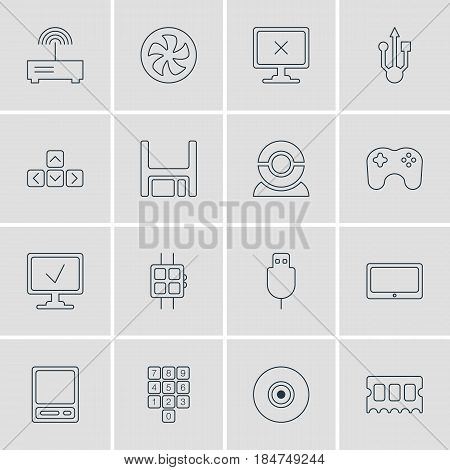 Vector Illustration Of 16 Laptop Icons. Editable Pack Of Serial Bus, Access Denied, Number Keypad And Other Elements.