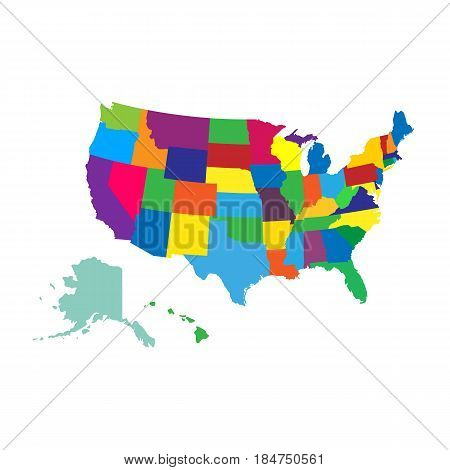 Usa map. isolated on background. Vector illustration. Eps 10.