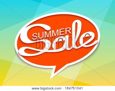 Summer sale. Sale banner with calligraphic inscription in comic speech bubble. Vector illustration made in paper cut out style.