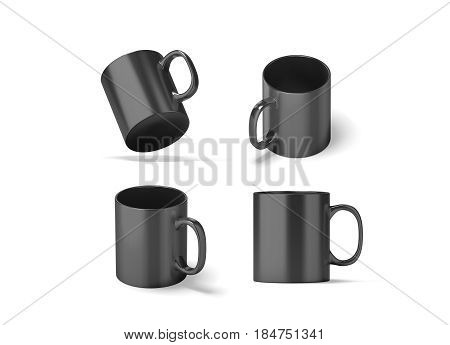 Blank black glass mug mock ups set isolated 3d rendering. Clear grey 11 oz coffee cup mock up for sublimation printing. Empty gift dark pint set branding template. Glassy restaurant tankard design.