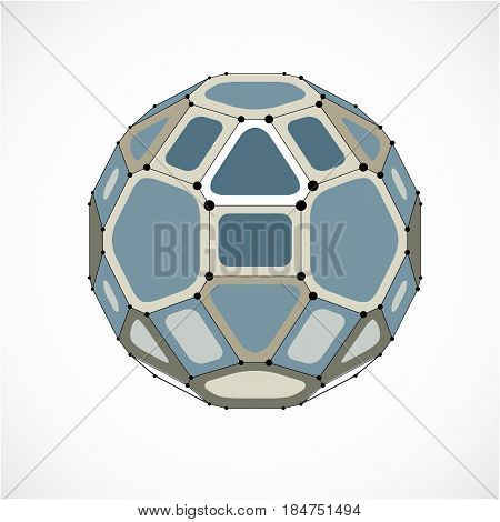 3d vector digital wireframe spherical object made using facets. Geometric polygonal gray ball created with lines mesh and pentagons. Low poly shape lattice form for use in web design.