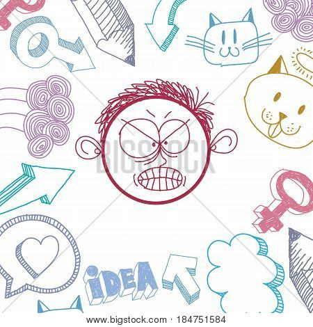 Vector art hand drawn illustration of personality emotions on teenager face. Social interaction allegory drawing.