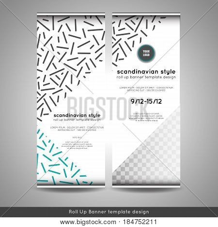 Scandinavian style roll up banner design layout flyer or booklet. Stock vector
