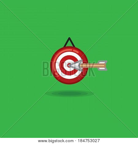Vector illustration arrow flying in target on a green background. Illustration of arrow in target, archery