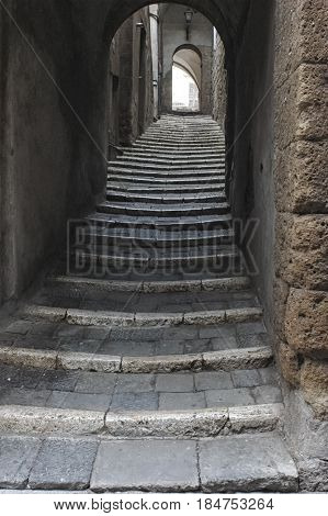 View of old stairs in an Italian old town