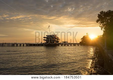 sea port at sunset in the city of Sukhumi