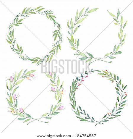 Hand Drawn Watercolor Illustrations. Laurel Wreaths. Floral Design Elements. Perfect For Wedding Inv
