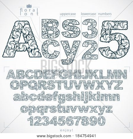 Ecology style flowery font and numbers monochrome vector typeset made using natural ornament. Numeration from 0 to 9 and alphabet letters created with spring leaves and floral design.