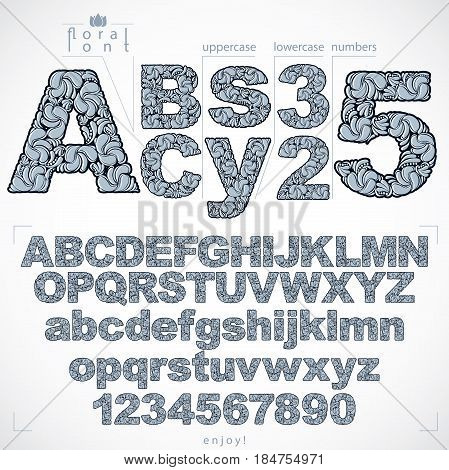 Floral font and numbers hand-drawn vector alphabet letters decorated with botanical pattern. Black and white ornamental typescript and numeration from 0 to 9 vintage design.