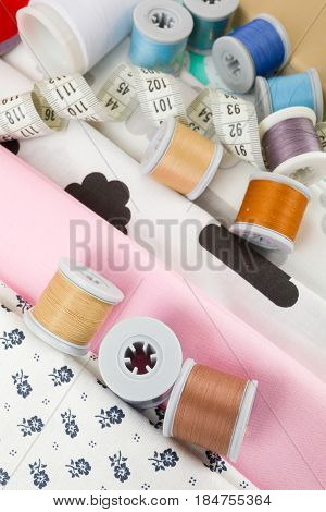 Fabric, Tailor Measurement Tape And Thread Spools
