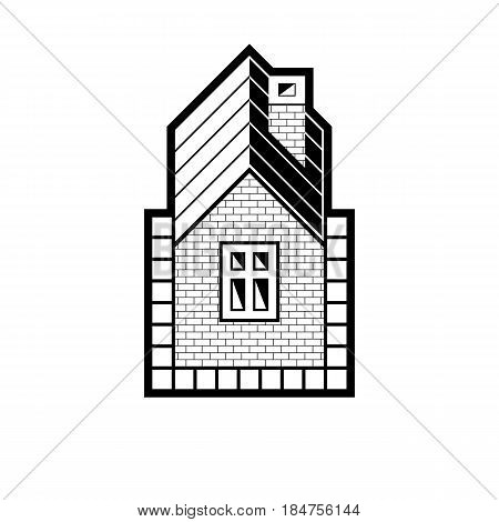 Black and white real estate stylized business vector icon abstract house constructed with bricks. Graphic design element conceptual contrast home sign.