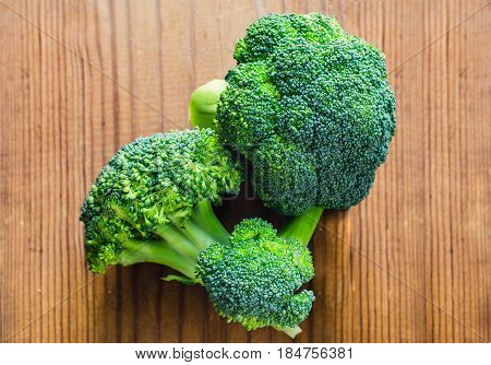 Broccoli green. fresh broccoli on old wooden background.