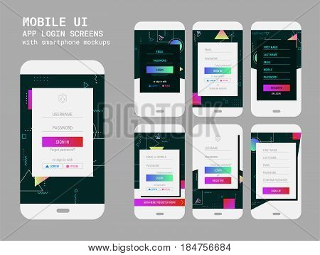 Trendy responsive mobile UI templates of login and registration screens, with smartphone mockups and abstract background wallpaper screens kit, new retro 80s - 90s style design
