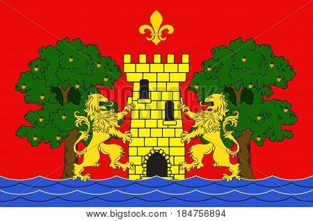 Flag of Bayonne is a city and commune and one of the two sub-prefectures of the department of Pyrenees-Atlantiques in the Nouvelle-Aquitaine region of south-western France. Vector illustration