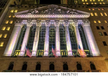 The New York Stock Exchange at night on June 26, 2016 in New York, NY.