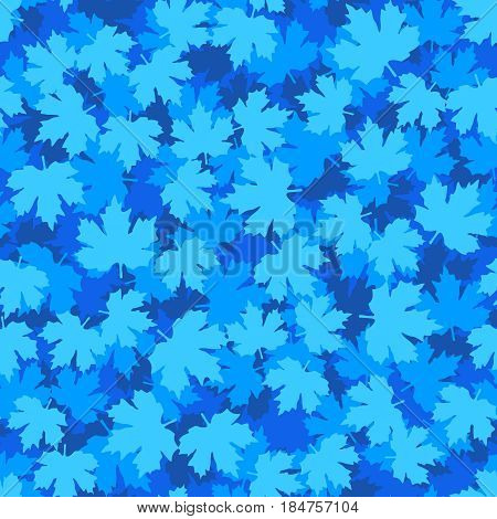Tileable Background With Blue Winter Maple Leaves