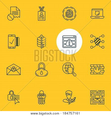 Vector Illustration Of 16 Data Protection Icons. Editable Pack Of Safeguard, Confidentiality Options, Internet Surfing And Other Elements.