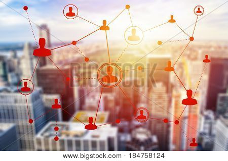 Social networking technologies over New York. Social media concept