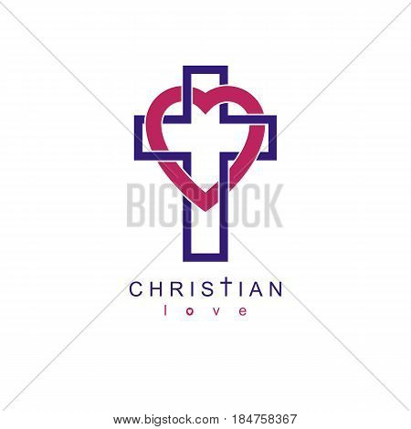 Christian Love and True Belief in God vector creative symbol design combined with Christian Cross and heart vector logo or sign.