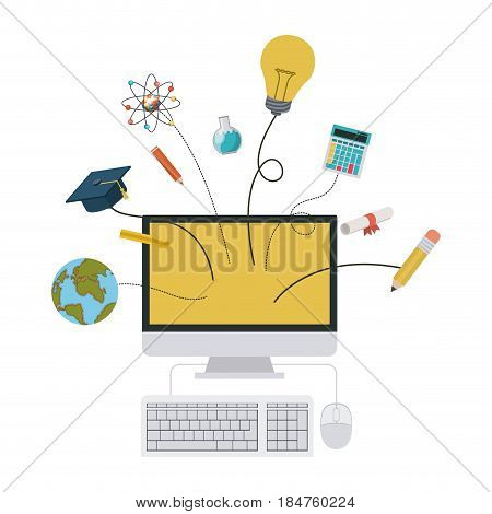 Computer and icon set icon. School supply object and education theme. Isolated design. Vector illustration