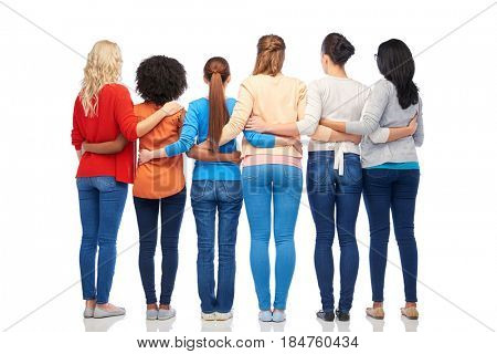 diversity, race, ethnicity and people concept - international group of happy different women hugging over white from back