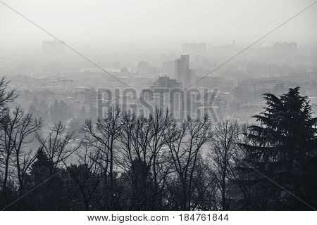 View of the city of Brescia. Black and white