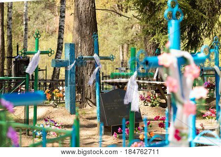 Gomel, Belarus - May 3, 2017: Graves With Crosses In The Orthodox Cemetery.