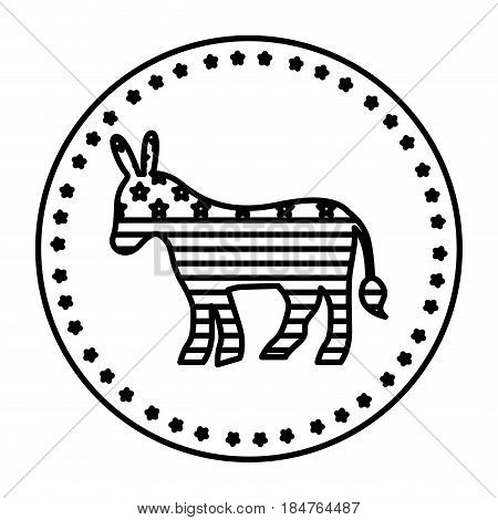 Donkey icon. Vote president election government  and campaign theme. Isolated design. Vector illustration