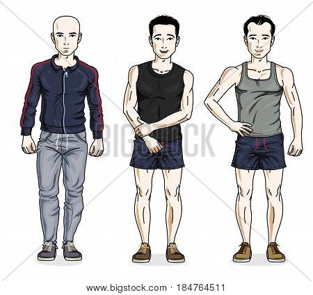 Happy men group standing in stylish sportswear. Vector diverse people illustrations set. Lifestyle theme male characters.
