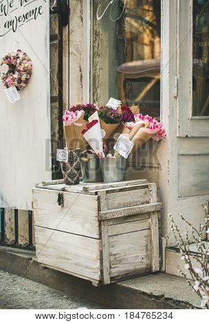 BUDAPEST, HUNGARY - MARCH 23, 2017: Entrance to small artisan street flower shop at Kiraly Street in old town center of Budapest, Pest side, 7th district