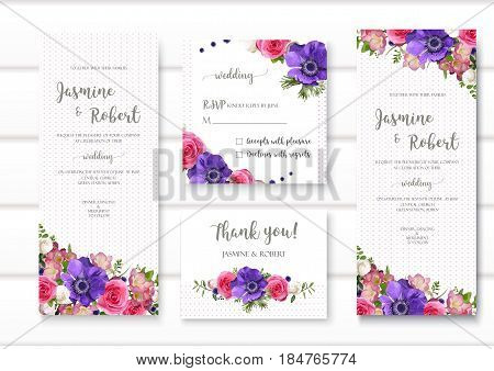 Set of flower Anemone rose freesia wedding invitation concept. Art spring poster abstract element. Vector beautiful floral layout decorative ethnic greeting long vertical square card design background