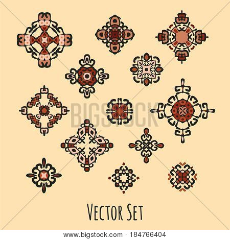 Set of different ethnic signs and design elements. Bright colored geometric patterns on beige background. Vector illustration. Could be used for tattoo logo and icon design web-design decoration