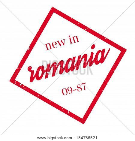 New In Romania rubber stamp. Grunge design with dust scratches. Effects can be easily removed for a clean, crisp look. Color is easily changed.