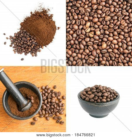 Crushed And Whole Coffee Beans In A Cast-iron Mortar
